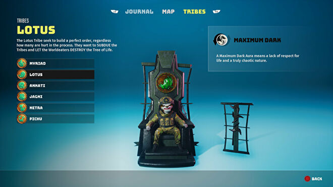 A Biomutant screenshot of the Tribes screen in the pause menu, showcasing the Lotus tribe.