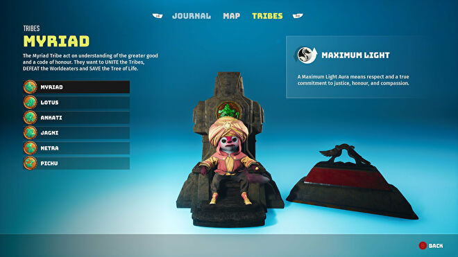 A Biomutant screenshot of the Tribes screen in the pause menu, showcasing the Myriad tribe.