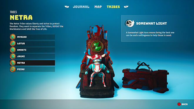 A Biomutant screenshot of the Tribes screen in the pause menu, showcasing the Netra tribe.