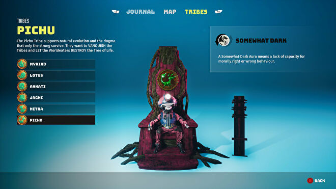 A Biomutant screenshot of the Tribes screen in the pause menu, showcasing the Pichu tribe.