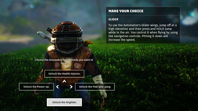 A Biomutant screenshot of the Automaton upgrade unlock screen, with the Airglider upgrade highlighted.