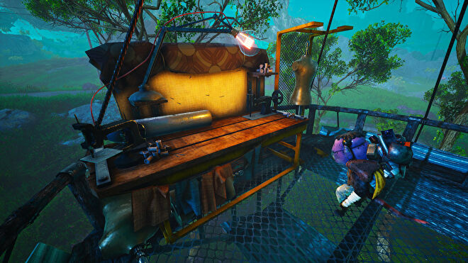 A Biomutant screenshot of the player standing next to an Upgrade Bench.