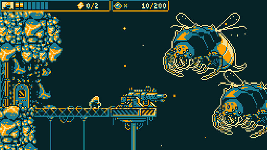 Biota - a small pixelated player in a yellow and navy 8 bit palette stands behind a large turret gun looking at two enormous bee enemies.