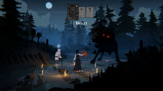 Black Book - The protagonist Vasilisa stands in a candle-lit circle beside an old man with a cane fighting against a large, ethereal black wolf with red eyes.