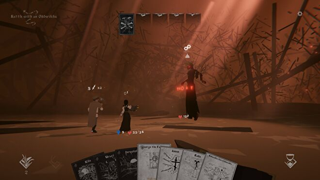 A card battle in Black Book. Vasilisa faces a tall, floating demon with red eyes. Her hand of cards is ranged along the bottom of the screen