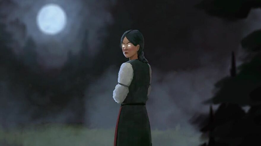 Vasilisa, the protagonist of black book, stands looking back over her shoulder at the camera. A full moon shines down from the sky on the left