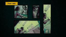 A screenshot from Blackout: The Darkest Night, arranged like a page in a comic book, showing the character looking at themselves in the mirror in a public bathroom, then having a vision of strange symbols appearing suddenly on the wall