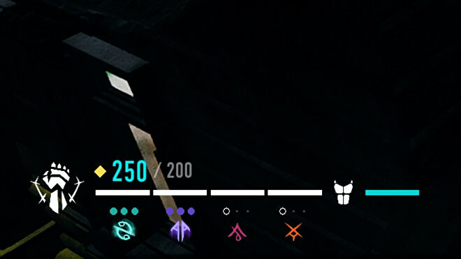 A section of the Bloodhunt UI in the bottom-left which shows health and Blood Resonance points and slots.