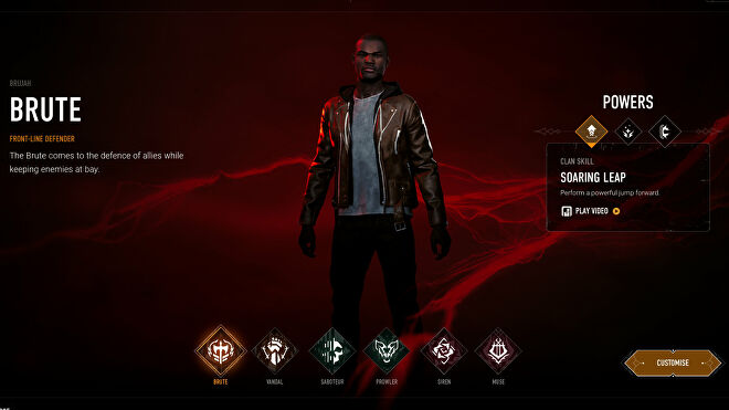 Choosing the Brute archetype in Bloodhunt's character selection screen.