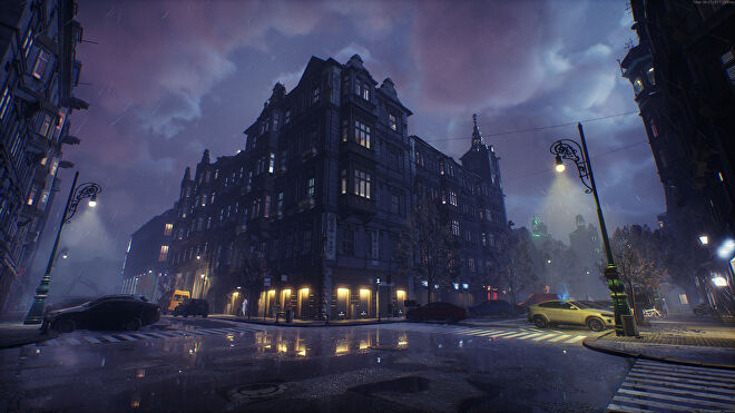 A large building at night in Bloodhunt.