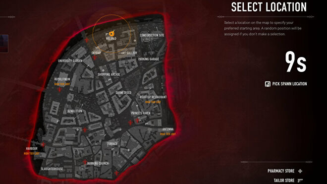 The spawn screen at the start of a match in Bloodhunt, where the player must pick where on the map to start the game.