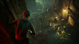 A player in Bloodhunt clings to a wall and looks down below at a group of mortals being fed upon by a vampire.