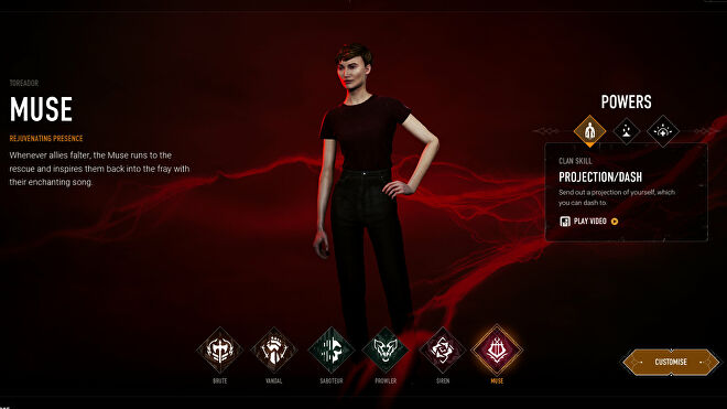 Choosing the Muse archetype in Bloodhunt's character selection screen.