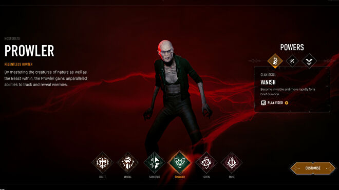 Choosing the Prowler archetype in Bloodhunt's character selection screen.