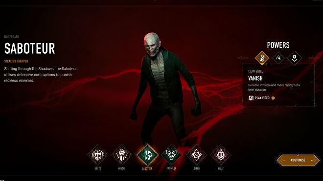 Choosing the Saboteur archetype in Bloodhunt's character selection screen.