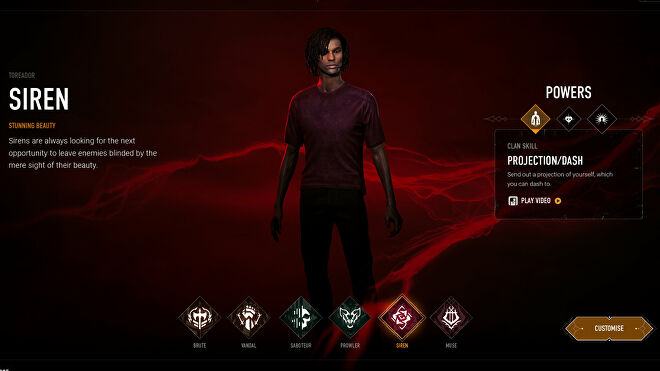 Choosing the Siren archetype in Bloodhunt's character selection screen.