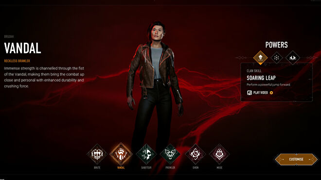 Choosing the Vandal archetype in Bloodhunt's character selection screen.