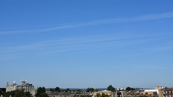 A photo of the real-life blue summer sky, circa London 2021.