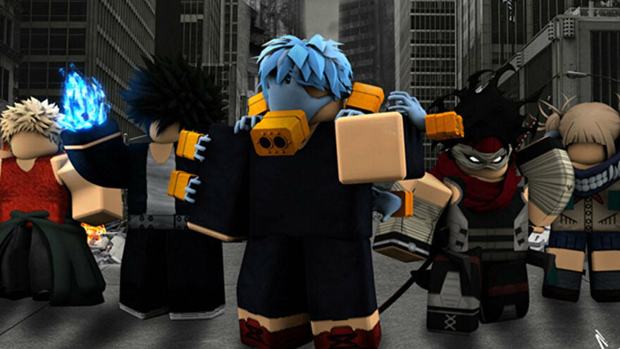 Promotional art for Roblox game Boku No Roblox, showcasing a group of characters standing in a line facing the camera.