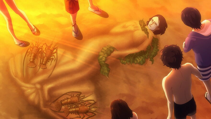 The Phantom thieves have buried Zenkichi in the sandy beach in Persona 5 Strikers.