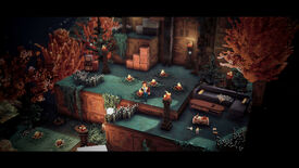 A screenshot of Bonfire Peaks showing a voxel world with autumnal colours and blocky terrain. There are small fires and a man stands in the centre of the image.