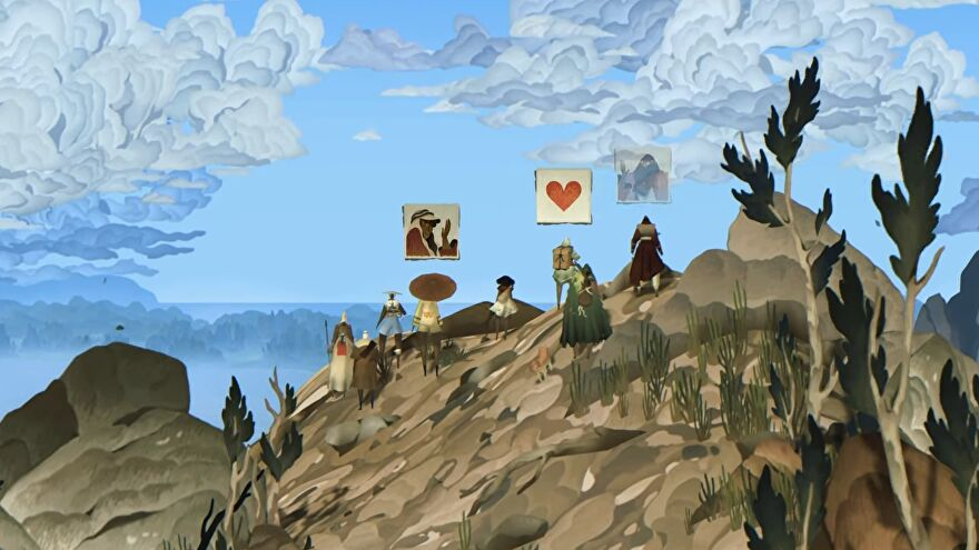 Travellers take a break on a painterly mountainside in Book Of Travels