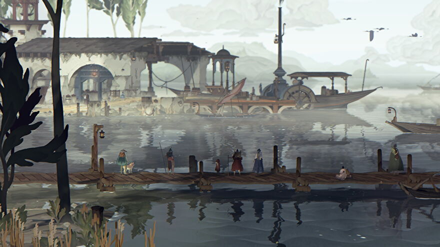 Travelers stand on a dock pier in Book Of Travels.