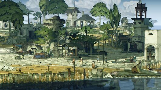 Book Of Travels - Painted-style characters stand around a port dock of stone walkways with market stalls nearby.