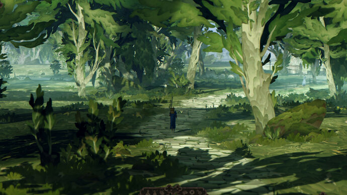Book Of Travels - a player in a blue robe walks alone with a walking stick and backpack along a quiet road through a forest