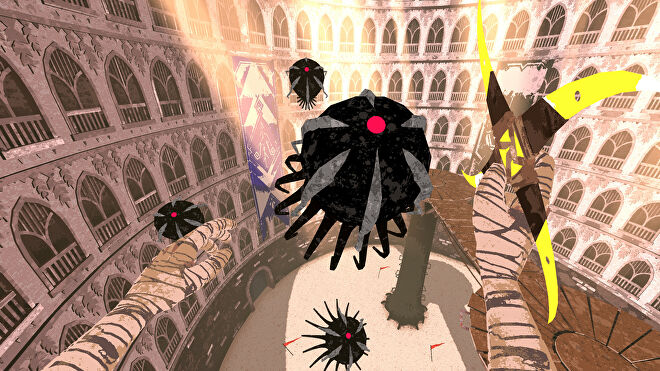 A screenshot of Boomerang X showing a squid-like enemy with a glowing red eye flying towards the player who, from a first-person perspective, is wielding a 4-pointed boomerang.