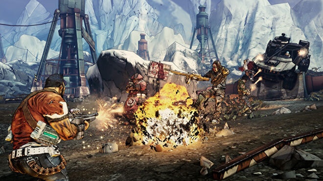 An image from Borderlands 2 which shows Salvador firing at enemies caught in an explosion.
