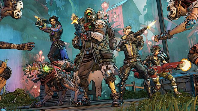 Borderlands 3 - The four playable Vault Hunters stand together shooting at enemies.