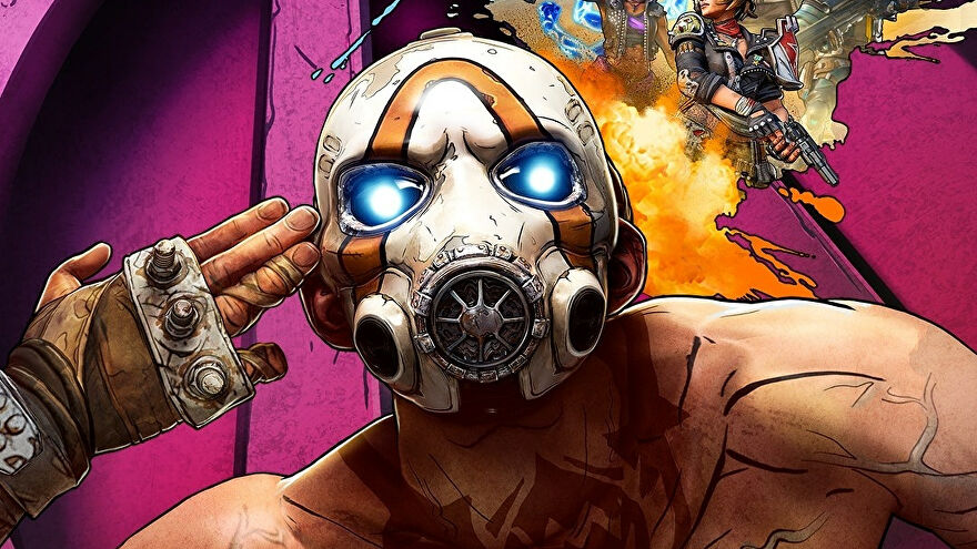 A Borderlands bandit in a mask points fingerguns at his own head.