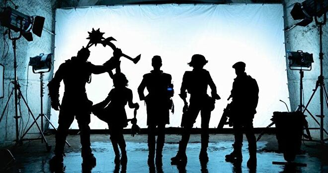 Silhouettes of the Borderlands movie leads.