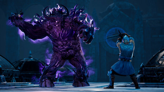 A knight raises his sword against a purple beast in King's Bounty 2