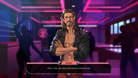 """Boyfriend Dungeon - Sunder, a man in a leather jacket with long, dark hair, stands in a club and says """"That's...true. Let's enjoy this moment, while we can."""""""