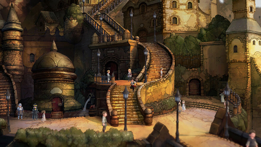 A screenshot of Bravely Default 2 showing its gorgeous painted backgrounds.