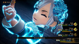 A screenshot from Bravely Default 2 showing a character in a battle in close-up casting Eternal Inferno.