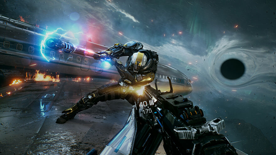 A screenshot of Bright Memory Infinite showing a first-person perspective fight against a cyborg man on the wing of an airplane that seems to be crashing into a miniature black hole.