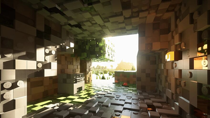 Minecraft Brixel resource pack - A screenshot from inside a cave looking into the sun with shaders enabled. All of the blocks appear to be made of shiny, bumpy Lego-like bricks.