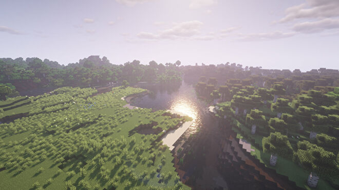 A Minecraft screenshot of a landscape with BSL Shaders enabled.