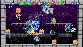 A screenshot of Bubble Bobble 4 Friends showing a stage of platforms with Bub and Bob fighting various bullies with bubbles.