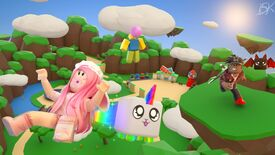 A fantastical group of characters flying around a Roblox mountain range. At the centre of the group is a chibi unicorn.