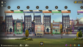 A screenshot of Buildings Have Feelings Too! showing several 2D illustrated buildings, each of which have arms and legs, standing in front of a grassy field.