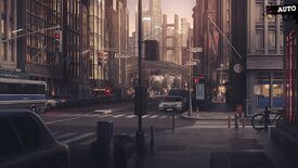 A screenshot of Bustafellows, showing a painterly rendition of a New Sieg (clearly New York) street.