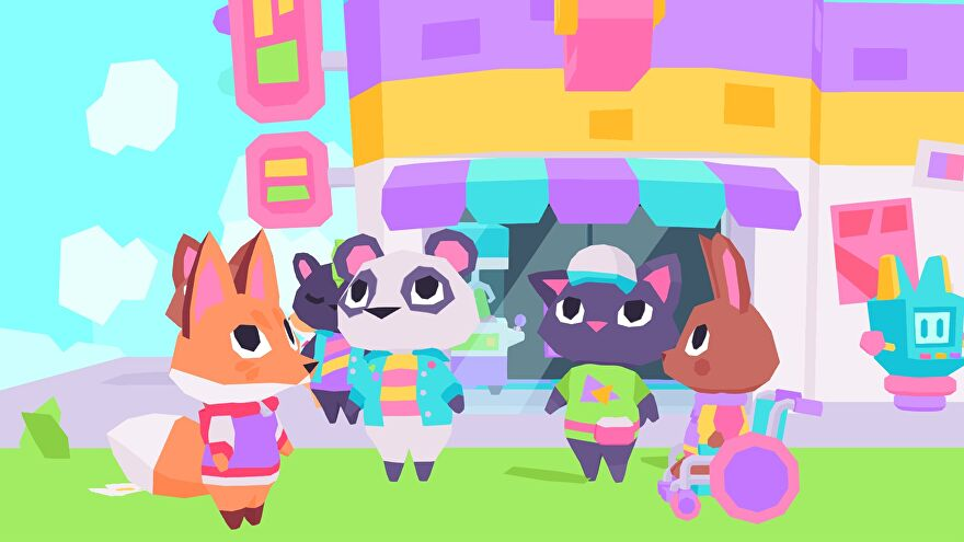 The Fluff Squad meet outside Button City's arcade.