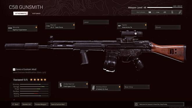 A long-range build for the C58 in Call of Duty: Warzone