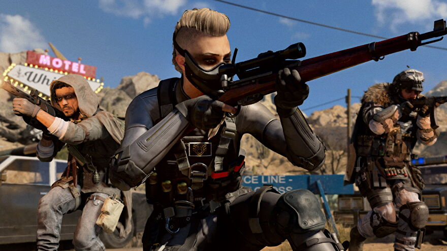 A screenshot from Call Of Duty: Black Ops Cold War which shows Wraith aiming a sniper rifle, flanked by two other operators.