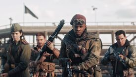 Call Of Duty: Vanguard - Four soldier with guns stand together holding guns.