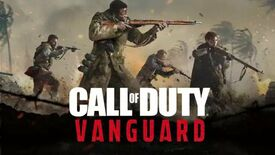 A logo for Call Of Duty: Vanguard with four soldiers wielding WW2 weapons behind it and palm trees and explosions behind that.